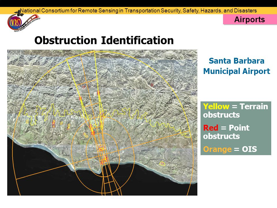 Obstruction Identification Yellow = Terrain obstructs Red = Point obstructs Orange = OIS Santa Barbara Municipal Airport National Consortium for Remote Sensing in Transportation Security, Safety, Hazards, and Disasters Airports