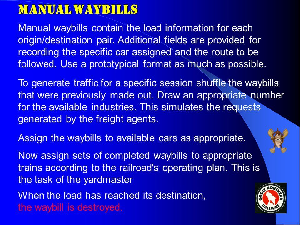 Manual Waybills Manual waybills contain the load information for each origin/destination pair.