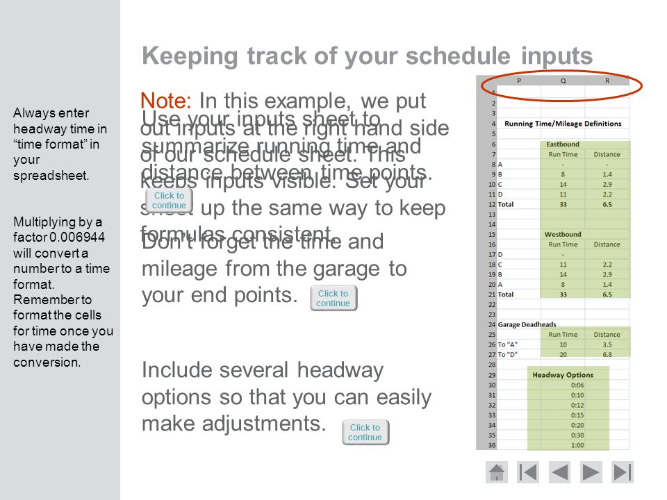 Keeping track of your schedule inputs Use your inputs sheet to summarize running time and distance between time points.