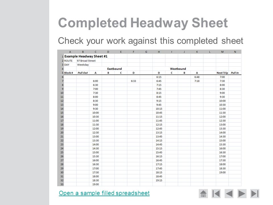 Completed Headway Sheet Check your work against this completed sheet Open a sample filled spreadsheet