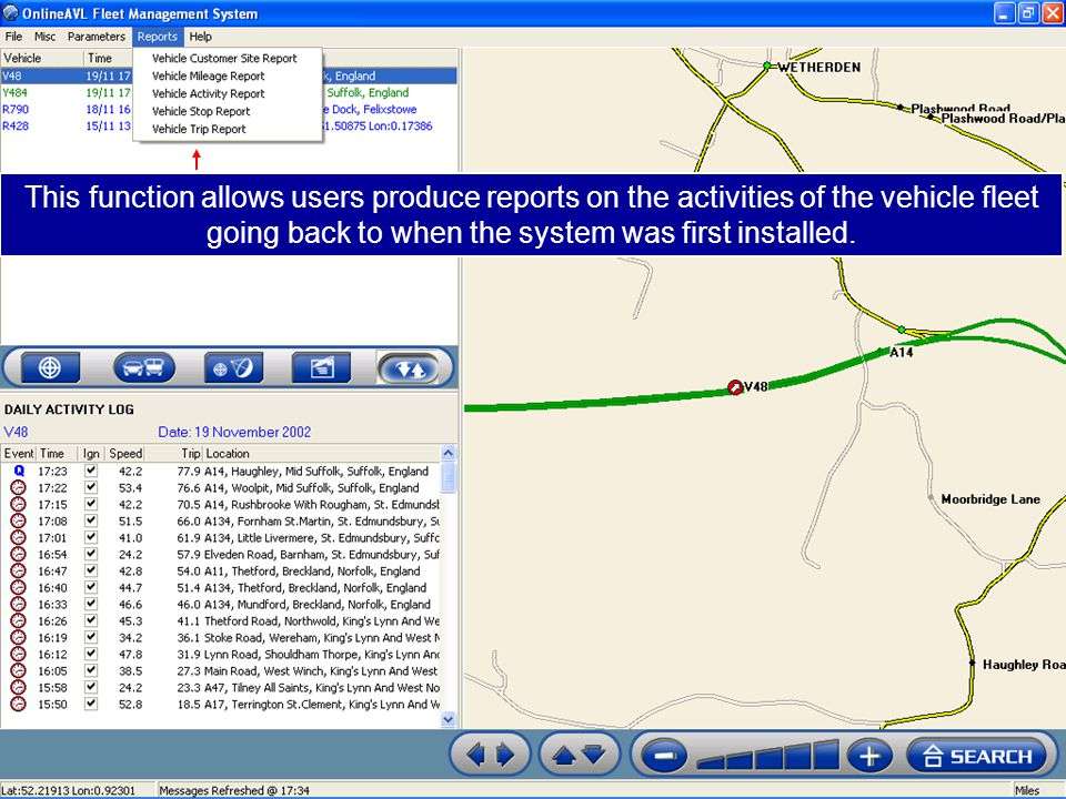 This function allows users produce reports on the activities of the vehicle fleet going back to when the system was first installed.
