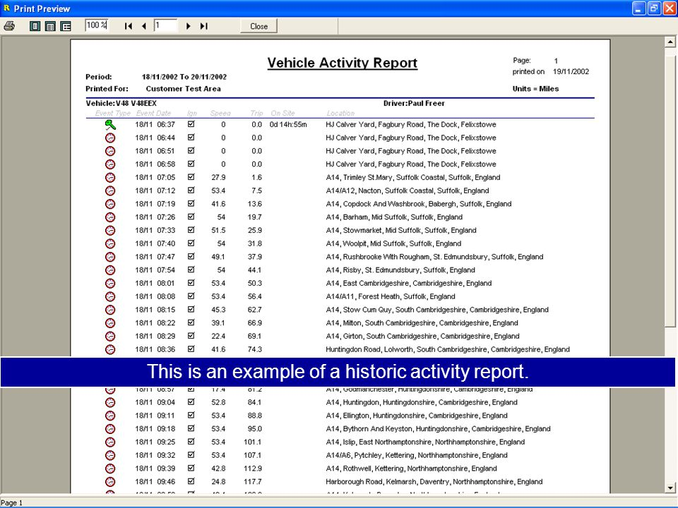 This is an example of a historic activity report.