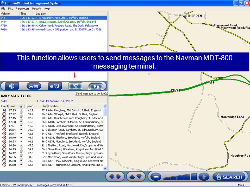 This function allows users to send messages to the Navman MDT-800 messaging terminal.