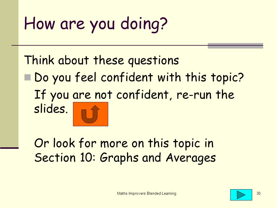 Maths Improvers Blended Learning30 How are you doing.