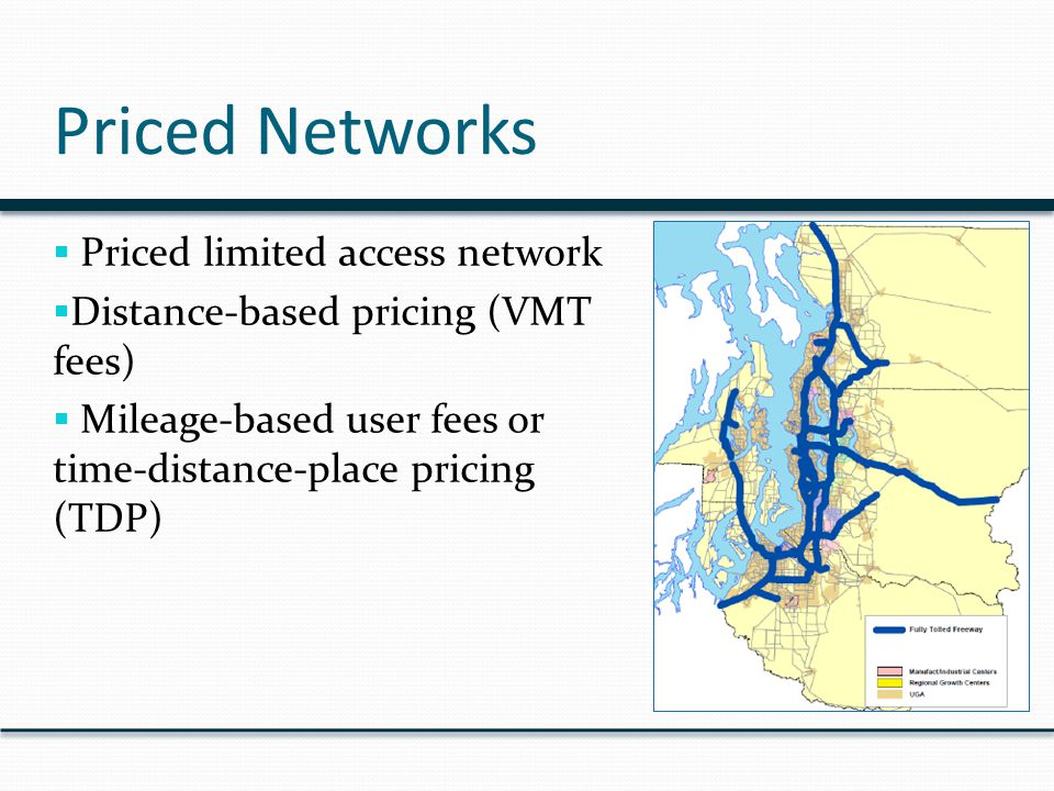 Priced Networks  Priced limited access network  Distance-based pricing (VMT fees)  Mileage-based user fees or time-distance-place pricing (TDP)