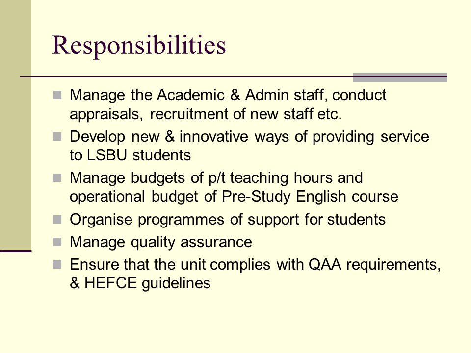 Responsibilities Training and mentoring of academic & support staff Scholarship & research Teaching/academic/professional activities Updating academic knowledge & education initiatives Be active in LSBU central processes e.g.