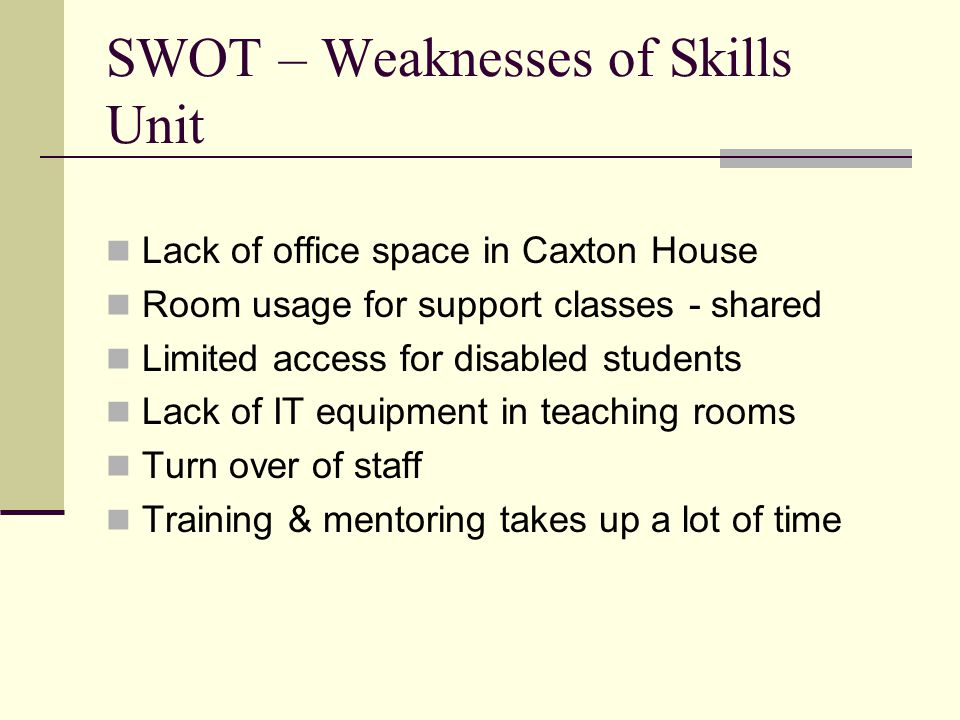 SWOT - Opportunities  Widening Participation agenda just keeps growing  Increase usage levels by students  Greater/closer working with the IT/Library staff