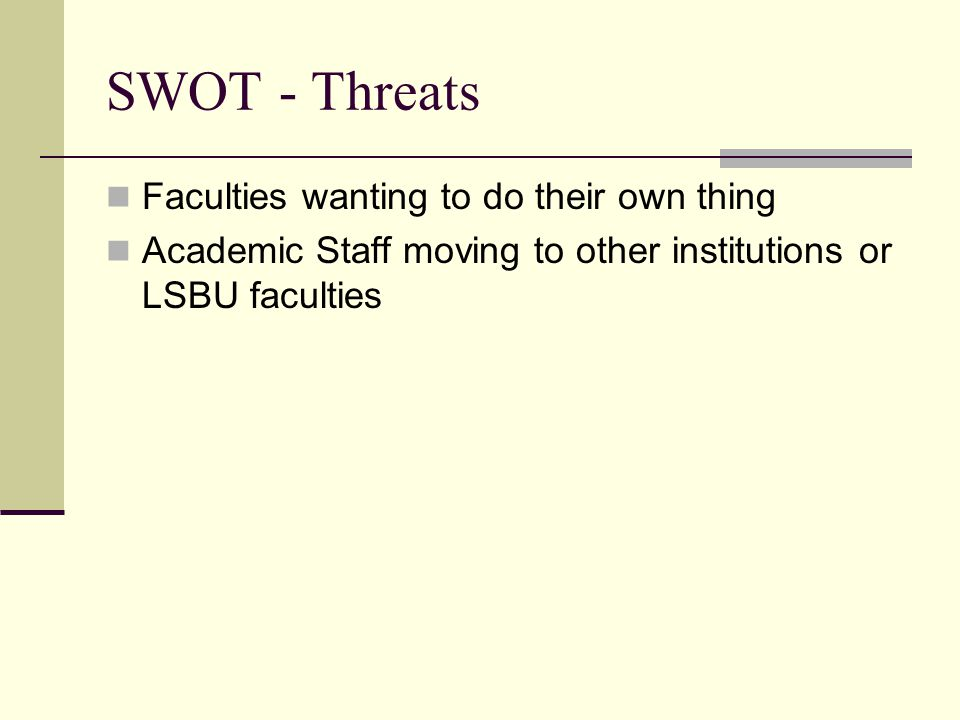 SWOT - Threats Faculties wanting to do their own thing Academic Staff moving to other institutions or LSBU faculties