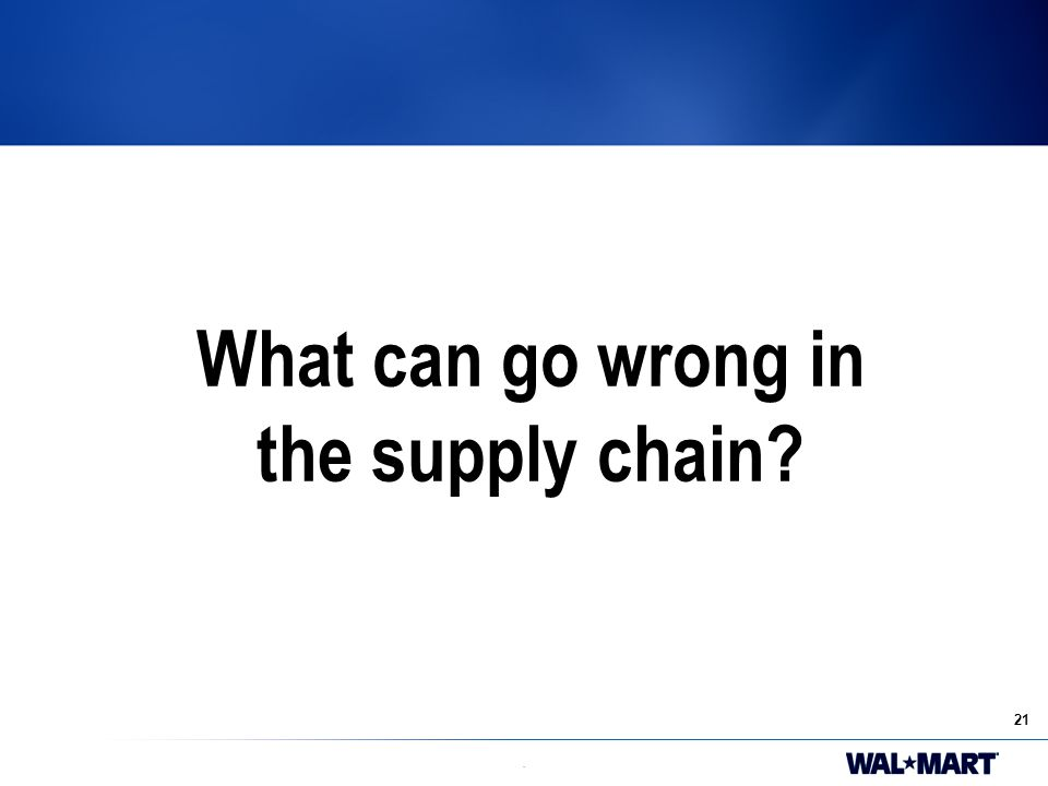 21. What can go wrong in the supply chain?