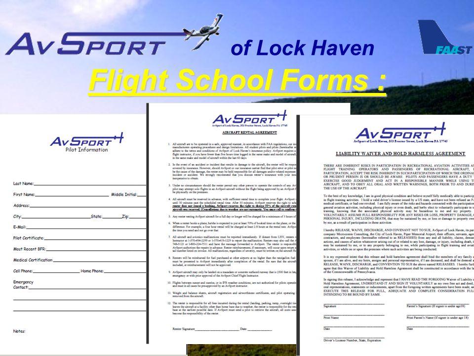of Lock Haven Flight School Forms :