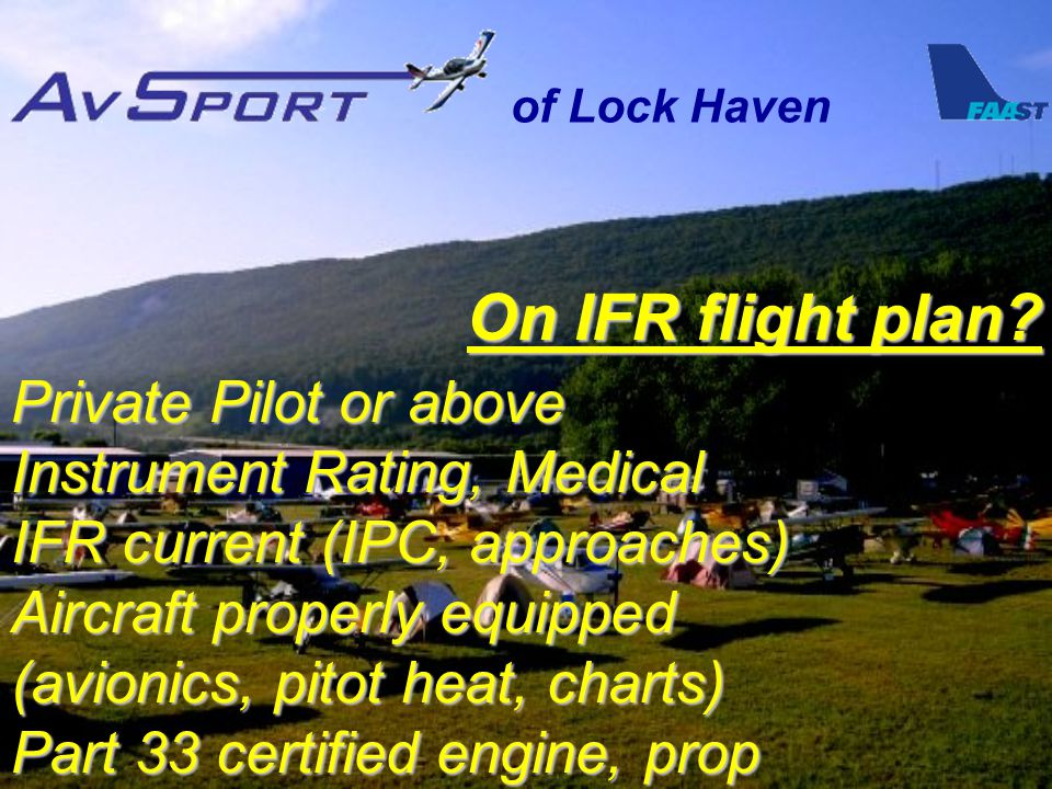 of Lock Haven On IFR flight plan.