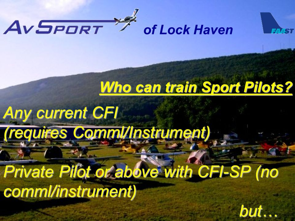 of Lock Haven Who can train Sport Pilots.