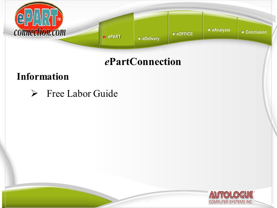 ePartConnection Information  Free Labor Guide
