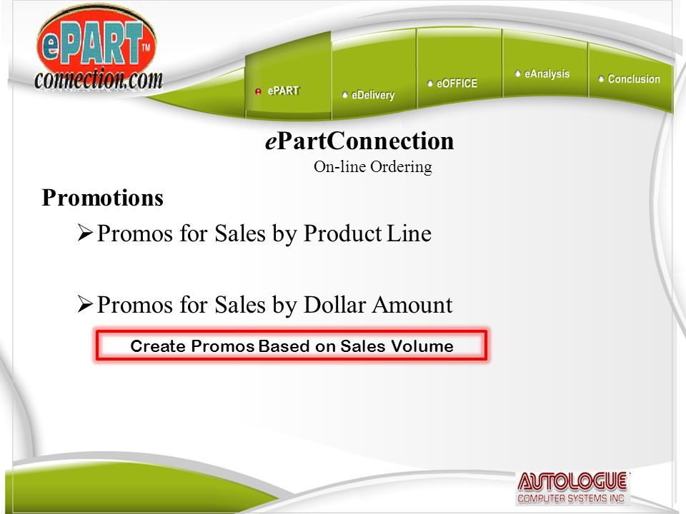 ePartConnection On-line Ordering Promotions  Promos for Sales by Product Line  Promos for Sales by Dollar Amount Create Promos Based on Sales Volume