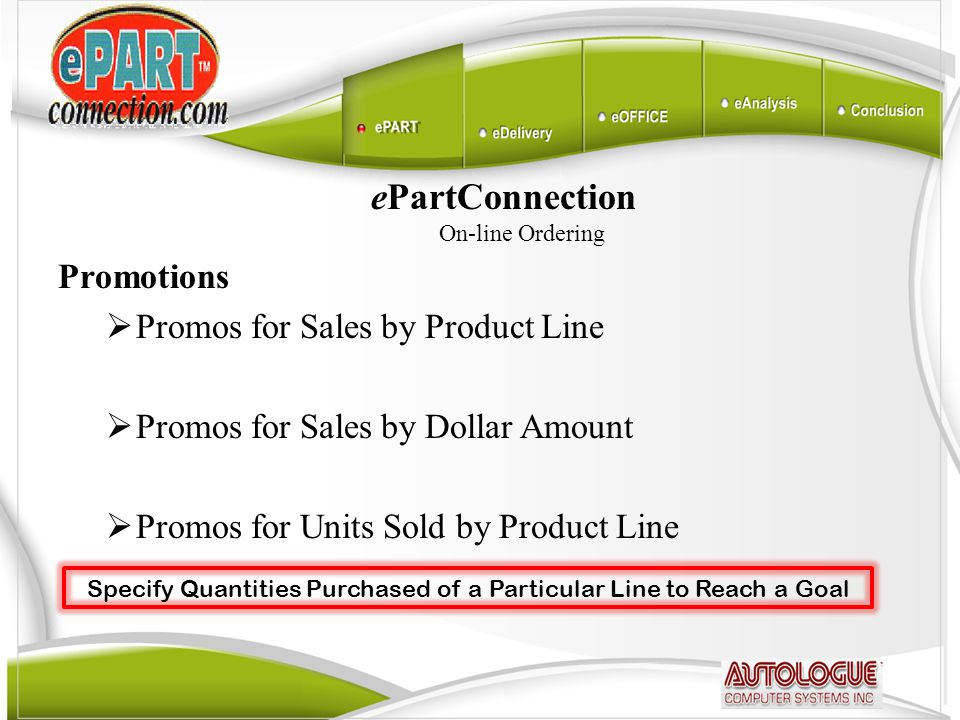 ePartConnection On-line Ordering Promotions  Promos for Sales by Product Line  Promos for Sales by Dollar Amount  Promos for Units Sold by Product Line Specify Quantities Purchased of a Particular Line to Reach a Goal