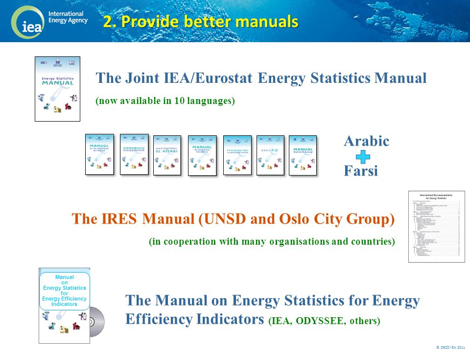 © OECD/IEA 2011 The Joint IEA/Eurostat Energy Statistics Manual (now available in 10 languages) Arabic Farsi The IRES Manual (UNSD and Oslo City Group) (in cooperation with many organisations and countries) The Manual on Energy Statistics for Energy Efficiency Indicators (IEA, ODYSSEE, others) 2.