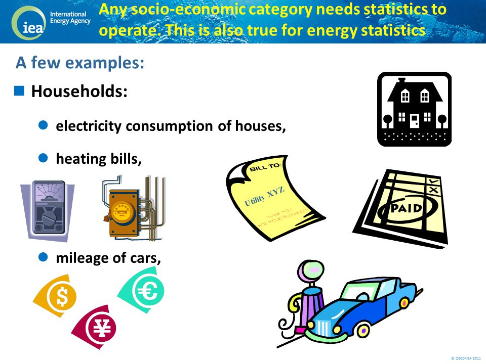 © OECD/IEA 2011 Any socio-economic category needs statistics to operate. This is also true for energy statistics Households: electricity consumption o