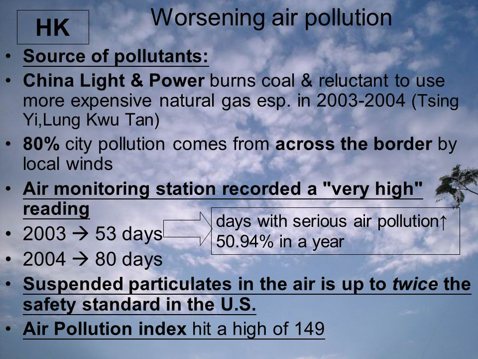 Worsening air pollution Source of pollutants: China Light & Power burns coal & reluctant to use more expensive natural gas esp. in 2003-2004 (Tsing Yi