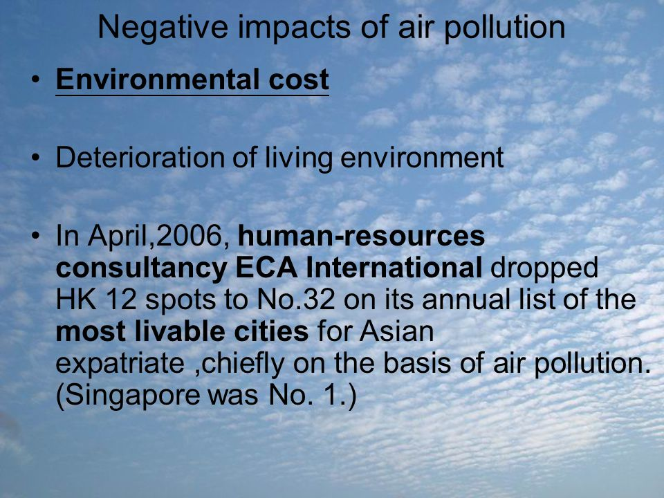 Negative impacts of air pollution Environmental cost Deterioration of living environment In April,2006, human-resources consultancy ECA International
