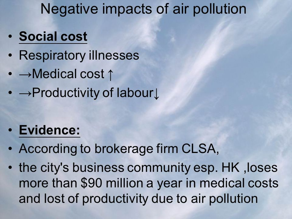 Negative impacts of air pollution Social cost Respiratory illnesses →Medical cost ↑ →Productivity of labour↓ Evidence: According to brokerage firm CLS