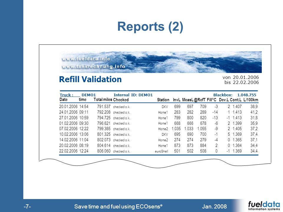 Jan. 2008-7-Save time and fuel using ECOsens ® Reports (2) Refill Validation von20.01.2006 bis22.02.2006 Truck :DEMO1Internal ID: DEMO1Blackbox:1.048.