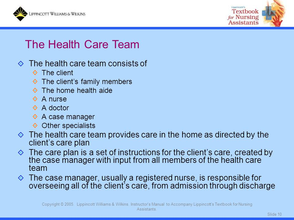 Slide 10 Copyright © 2005. Lippincott Williams & Wilkins. Instructor's Manual to Accompany Lippincott's Textbook for Nursing Assistants. The health ca