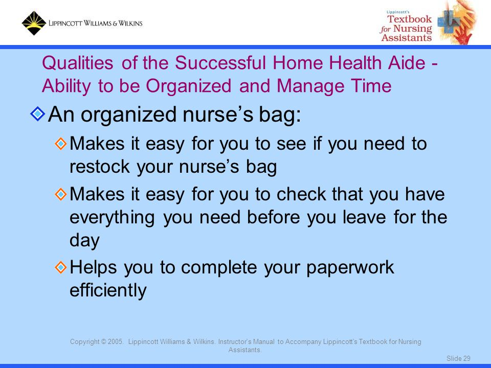 Slide 29 Copyright © 2005. Lippincott Williams & Wilkins. Instructor's Manual to Accompany Lippincott's Textbook for Nursing Assistants. An organized