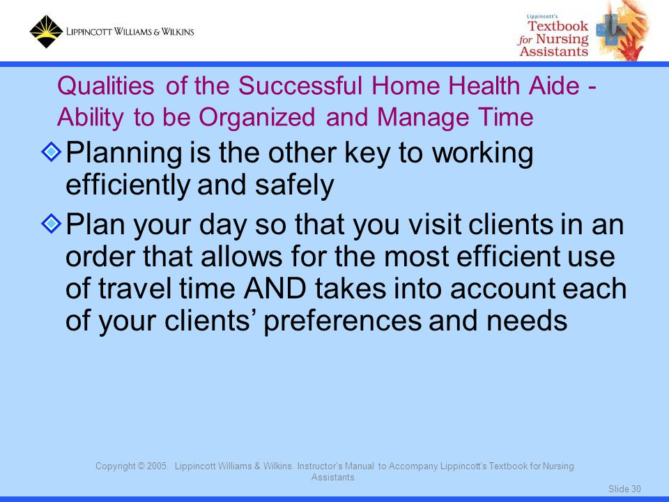 Slide 30 Copyright © 2005. Lippincott Williams & Wilkins. Instructor's Manual to Accompany Lippincott's Textbook for Nursing Assistants. Planning is t