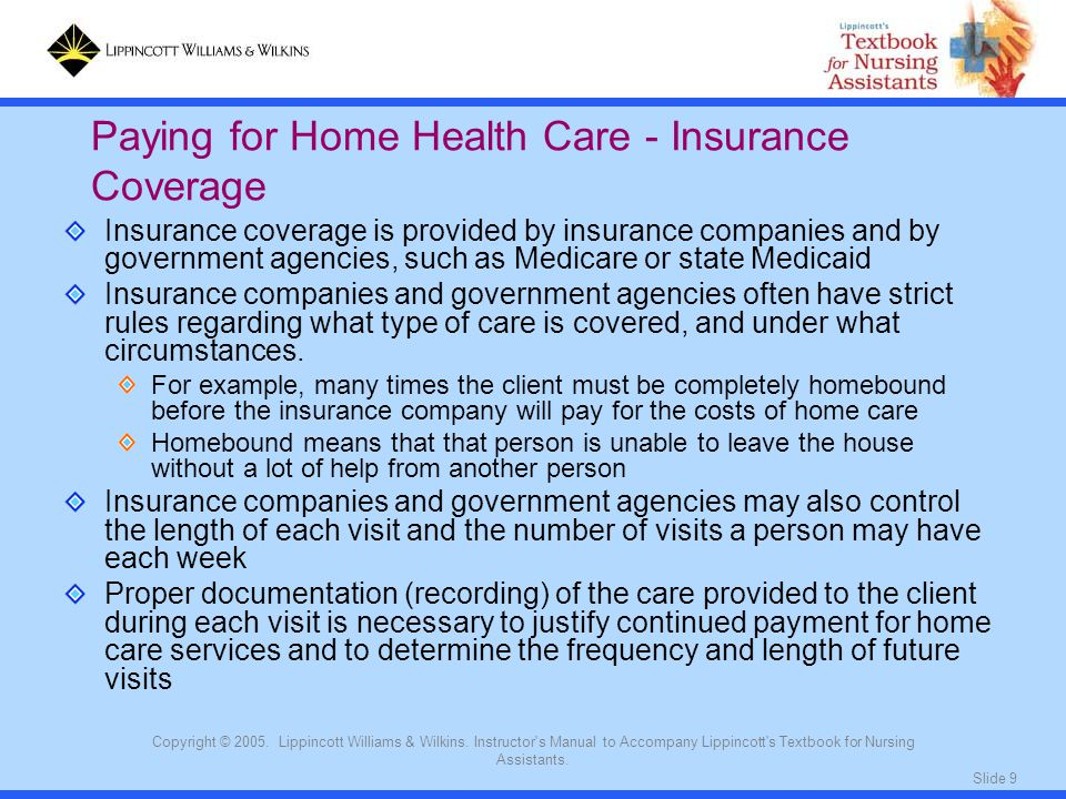 Slide 9 Copyright © 2005. Lippincott Williams & Wilkins. Instructor's Manual to Accompany Lippincott's Textbook for Nursing Assistants. Insurance cove