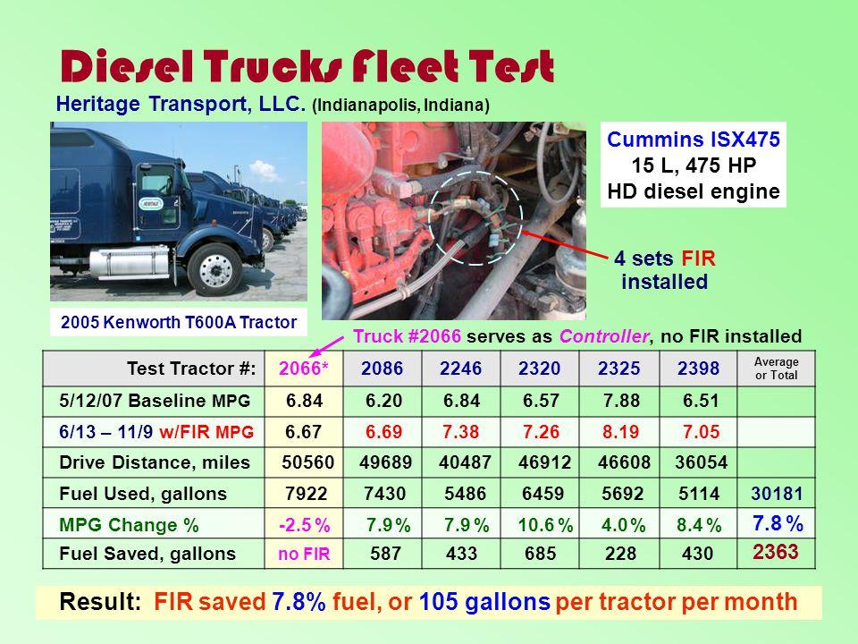 Diesel Trucks Fleet Test Test Tractor #:2066*20862246232023252398 Average or Total 2005 Kenworth T600A Tractor Cummins ISX475 15 L, 475 HP HD diesel e