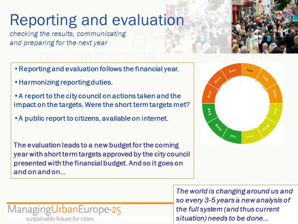 Reporting and evaluation checking the results, communicating and preparing for the next year Reporting and evaluation follows the financial year.