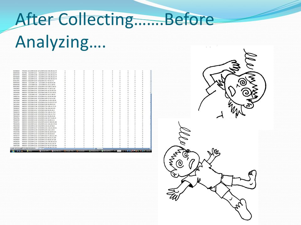 After Collecting…….Before Analyzing….