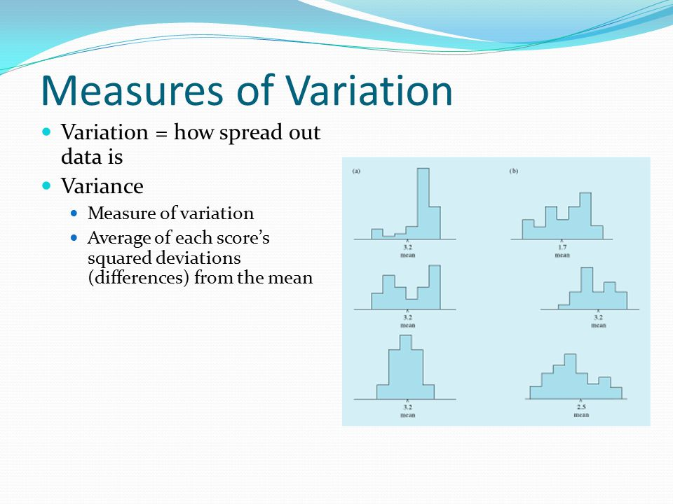 Measures of Variation Variation = how spread out data is Variance Measure of variation Average of each score's squared deviations (differences) from the mean