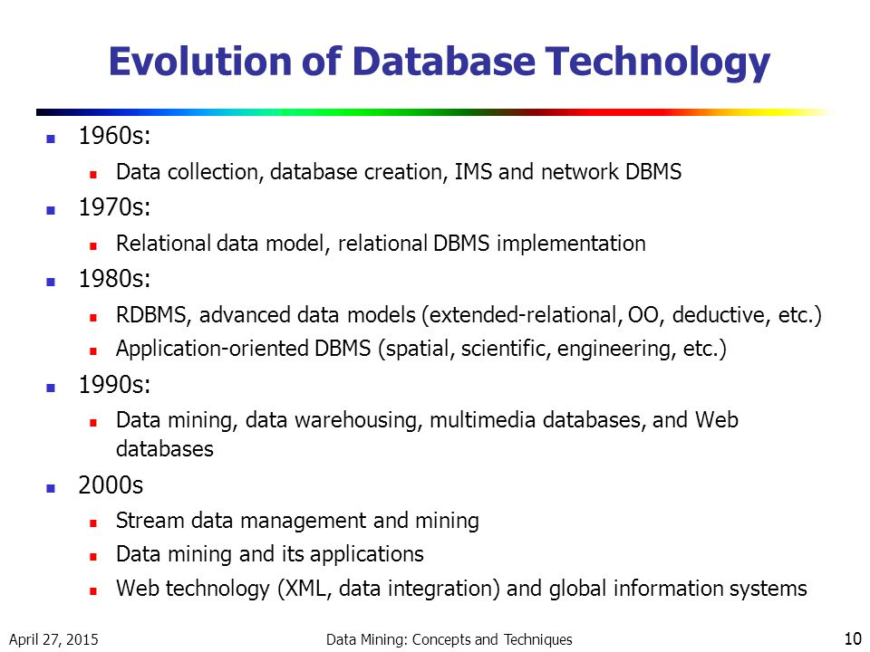April 27, 2015 Data Mining: Concepts and Techniques 10 Evolution of Database Technology 1960s: Data collection, database creation, IMS and network DBMS 1970s: Relational data model, relational DBMS implementation 1980s: RDBMS, advanced data models (extended-relational, OO, deductive, etc.) Application-oriented DBMS (spatial, scientific, engineering, etc.) 1990s: Data mining, data warehousing, multimedia databases, and Web databases 2000s Stream data management and mining Data mining and its applications Web technology (XML, data integration) and global information systems
