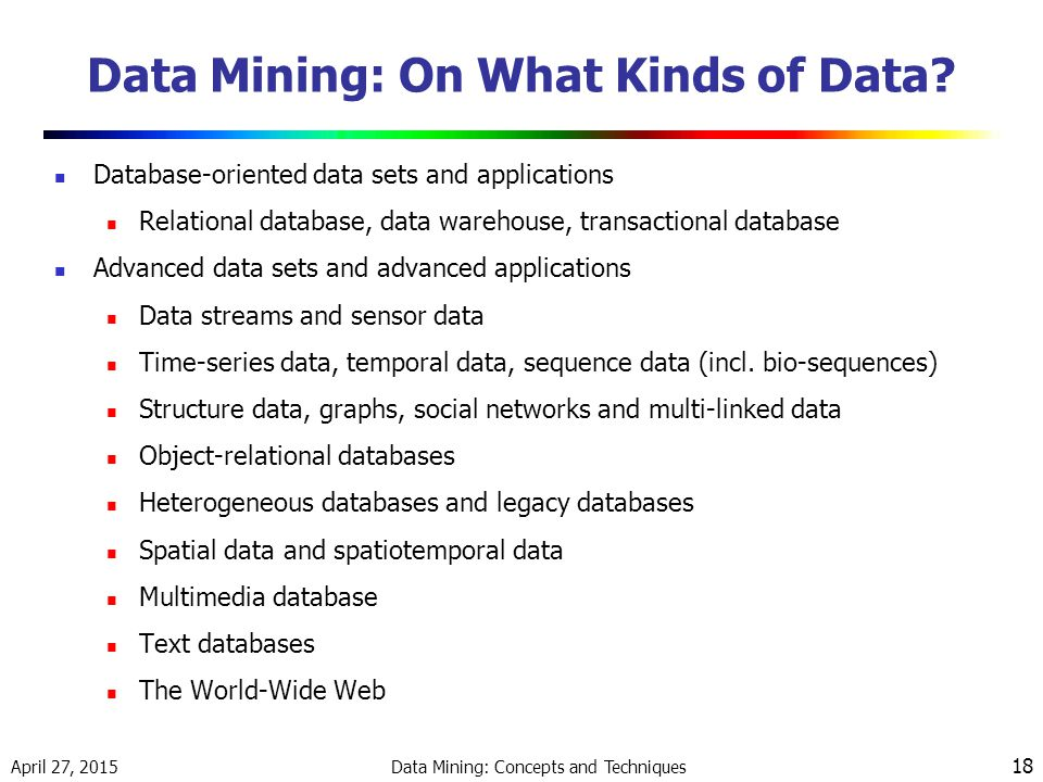 April 27, 2015 Data Mining: Concepts and Techniques 18 Data Mining: On What Kinds of Data.