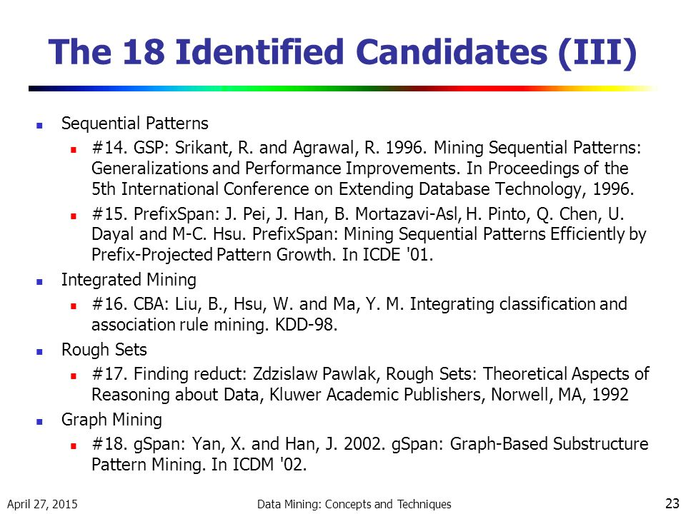 April 27, 2015 Data Mining: Concepts and Techniques 23 The 18 Identified Candidates (III) Sequential Patterns #14.