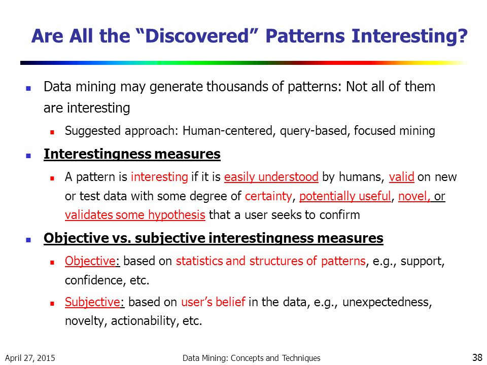 April 27, 2015 Data Mining: Concepts and Techniques 38 Are All the Discovered Patterns Interesting.