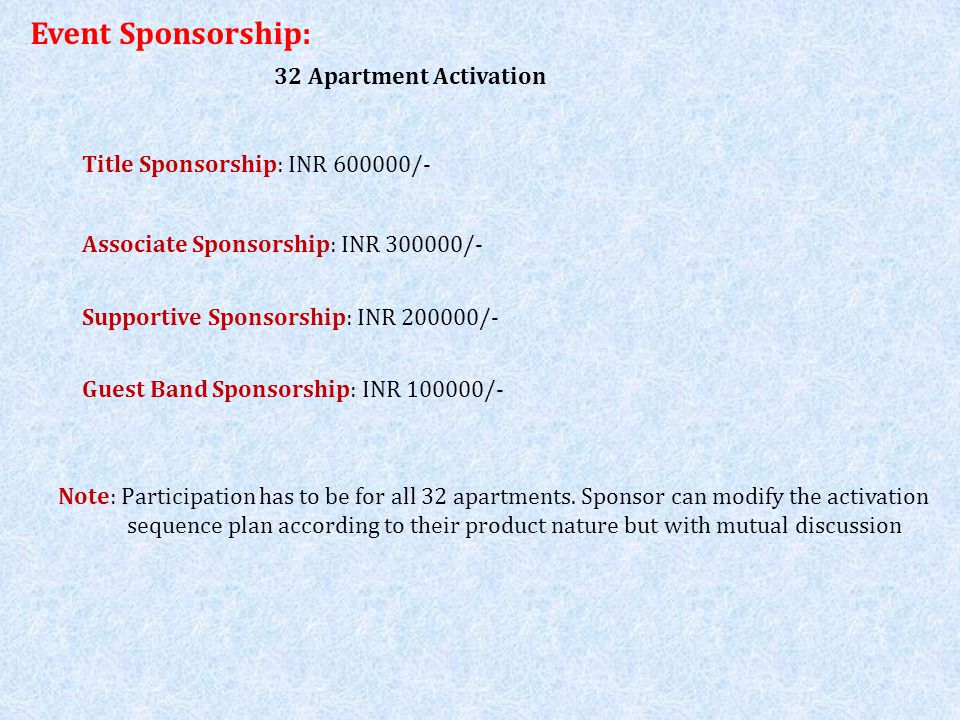 Event Sponsorship: 32 Apartment Activation Title Sponsorship: INR 600000/- Associate Sponsorship: INR 300000/- Supportive Sponsorship: INR 200000/- Note: Participation has to be for all 32 apartments.