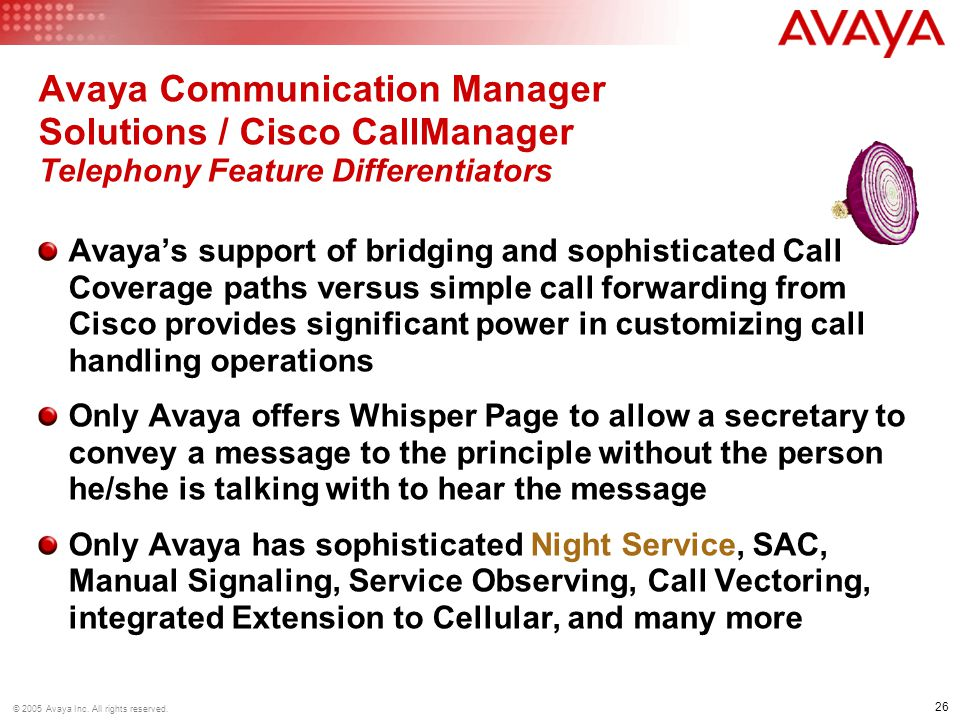 26 © 2005 Avaya Inc.All rights reserved.