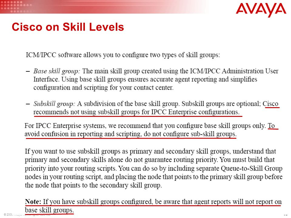 62 © 2005 Avaya Inc. All rights reserved. Cisco on Skill Levels