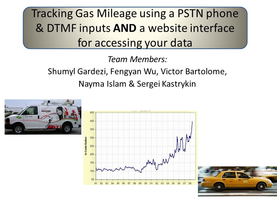 Team Members: Shumyl Gardezi, Fengyan Wu, Victor Bartolome, Nayma Islam & Sergei Kastrykin Tracking Gas Mileage using a PSTN phone & DTMF inputs AND a website interface for accessing your data