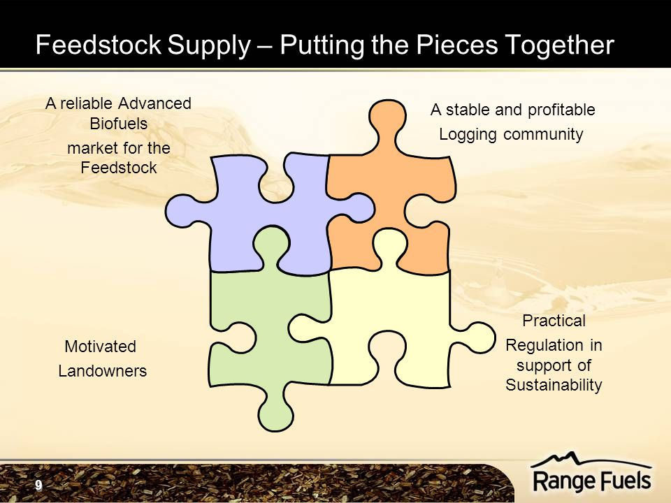 9 9 Feedstock Supply – Putting the Pieces Together A reliable Advanced Biofuels market for the Feedstock Practical Regulation in support of Sustainability A stable and profitable Logging community Motivated Landowners