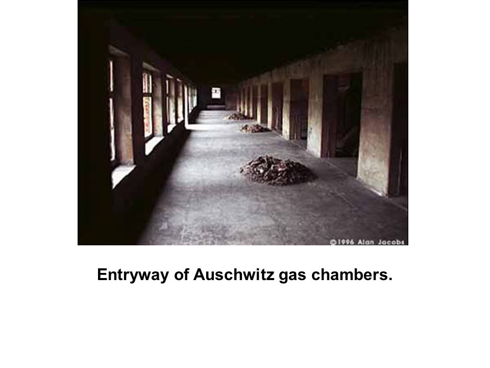 Entryway of Auschwitz gas chambers.