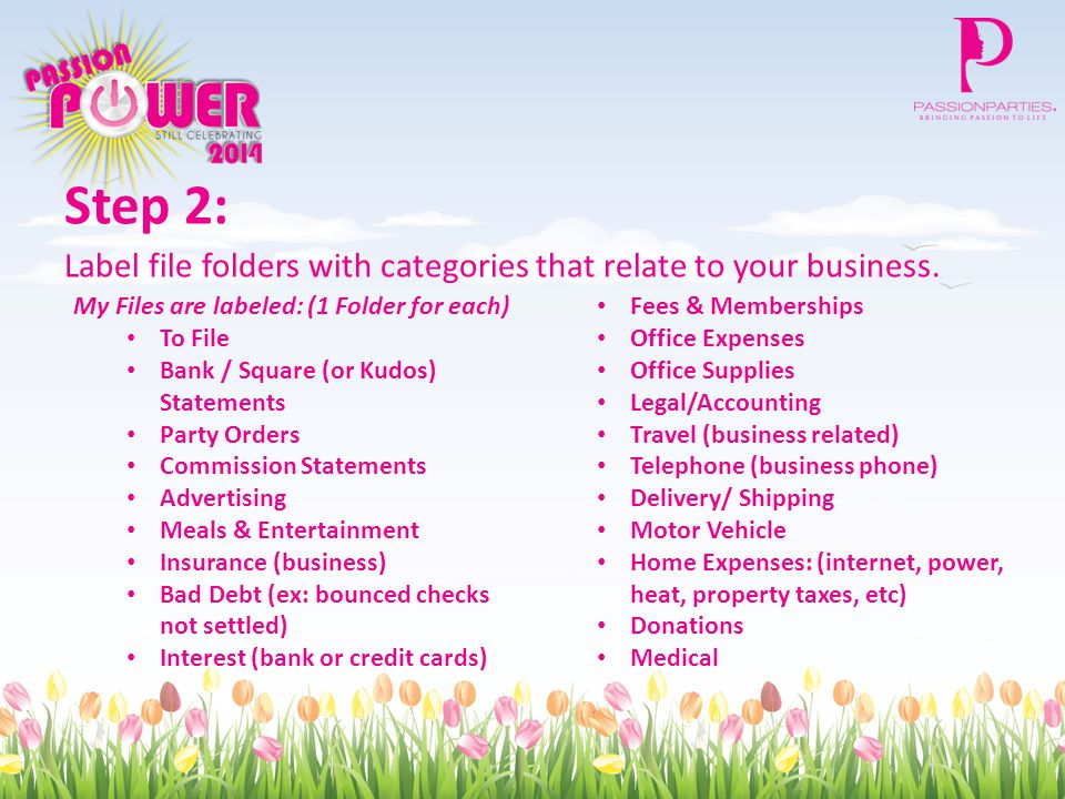 Step 2: Label file folders with categories that relate to your business.