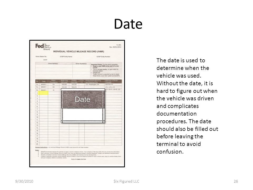 Date 9/30/2010$ix Figured LLC26 The date is used to determine when the vehicle was used.