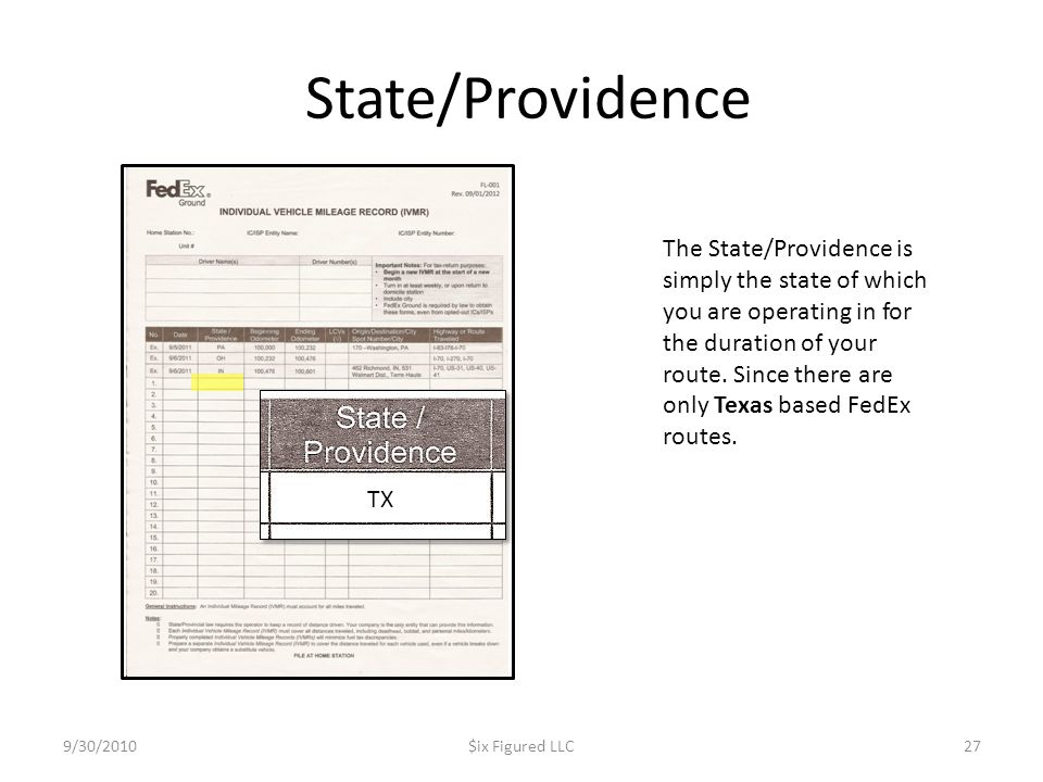 State/Providence 9/30/2010$ix Figured LLC27 The State/Providence is simply the state of which you are operating in for the duration of your route. Sin