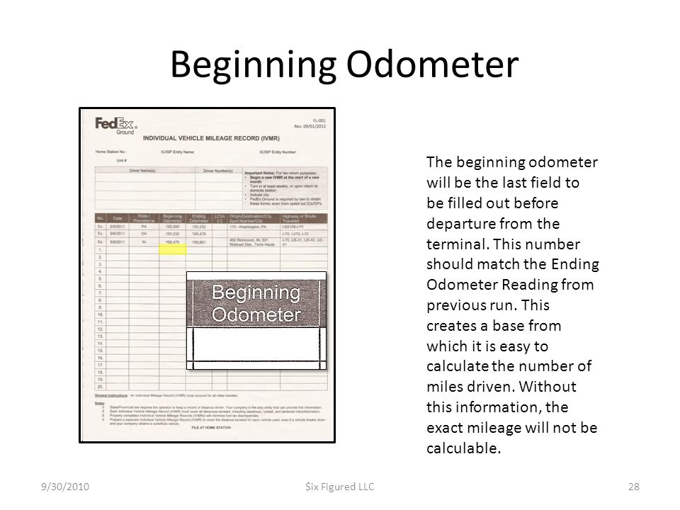 Beginning Odometer 9/30/2010$ix Figured LLC28 The beginning odometer will be the last field to be filled out before departure from the terminal. This