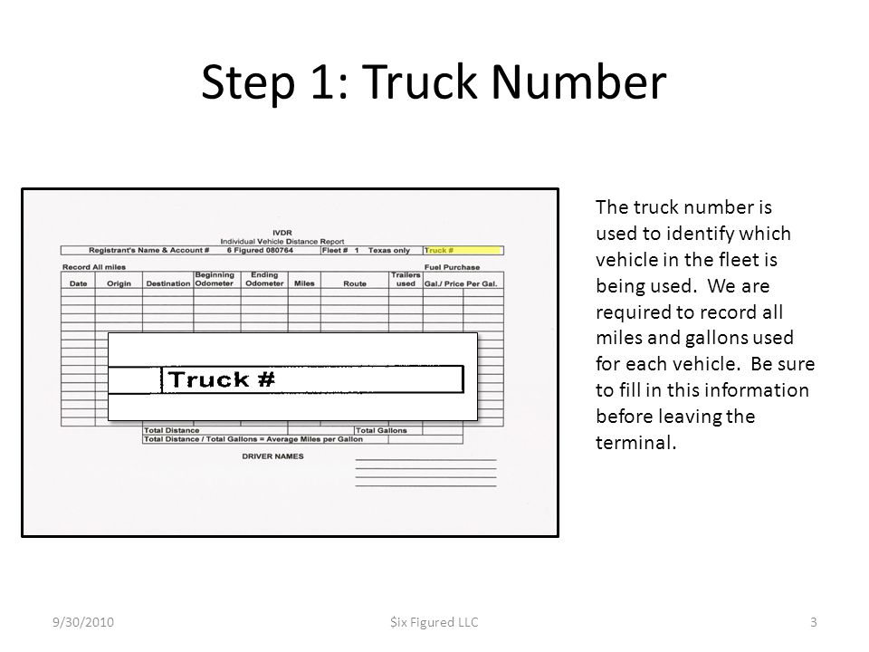 Step 1: Truck Number 9/30/2010$ix Figured LLC3 The truck number is used to identify which vehicle in the fleet is being used.