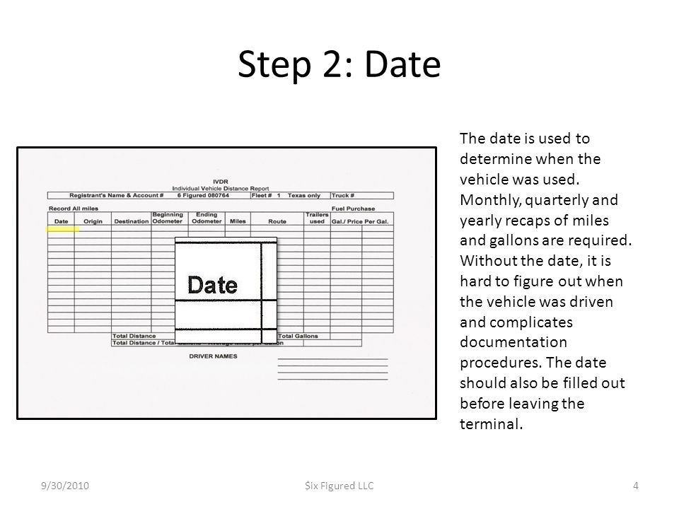 Step 2: Date 9/30/2010$ix Figured LLC4 The date is used to determine when the vehicle was used. Monthly, quarterly and yearly recaps of miles and gall