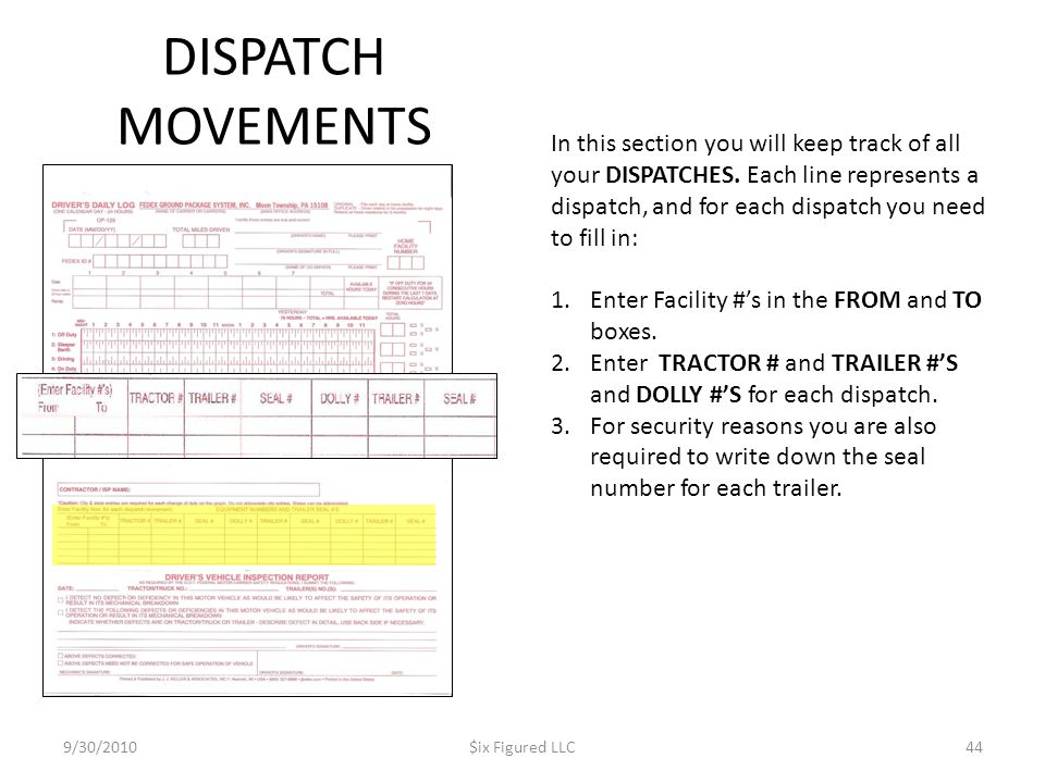 DISPATCH MOVEMENTS 9/30/2010$ix Figured LLC44 In this section you will keep track of all your DISPATCHES. Each line represents a dispatch, and for eac